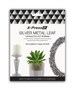 Picture of X-Press It Silver Metal Leaf 140x140 25 sh/bk